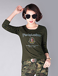 cheap -Women's Camo Hiking Tee shirt Long Sleeve Outdoor Lightweight Breathable Fast Dry Wear Resistance Tee / T-shirt Top Autumn / Fall Summer Cotton Crew Neck Army Green Camping / Hiking Hunting Back