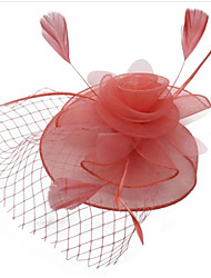 cheap -Women's Ladies Tiaras Fascinators For Wedding Party / Evening Prom Princess Feather Fabric Purple Fuchsia Red