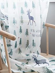 Недорогие -Рождество Солнцезащитные 1 панель Прозрачный Гостиная   Curtains