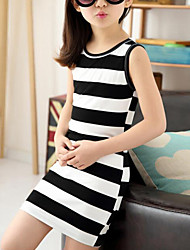 cheap -Kids Girls' Cute Street chic Striped Sleeveless Dress Black