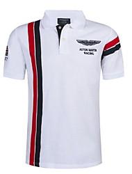 Недорогие -Муж. Polo Рубашечный воротник Тонкие Контрастных цветов Белый