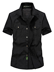cheap -Men's Hiking Shirt / Button Down Shirts Short Sleeve Outdoor Breathable Softness Multi Pocket Shirt Top Summer Cotton Army Green Khaki Cycling / Bike Traveling / Relaxed Fit