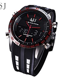cheap -ASJ Men's Digital Watch Japanese Digital Silicone Black Water Resistant / Waterproof Alarm LCD Analog - Digital Fashion - White Red Blue One Year Battery Life