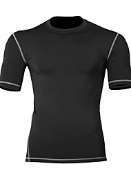 cheap -Men's Compression Shirt Short Sleeve Compression Base layer T Shirt Top Plus Size Lightweight Breathable Quick Dry Soft Sweat-wicking Black Red Grey Winter Road Bike Mountain Bike MTB Basketball