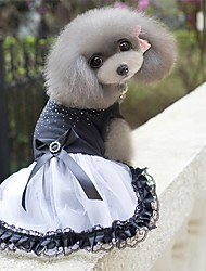 cheap -Dogs Dress Dog Clothes Black / White Costume Poly / Cotton Blend Crystal / Rhinestone Party Cute S M L XL