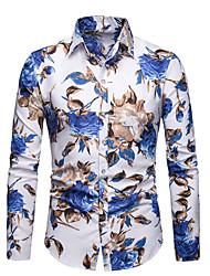 cheap -Men's Cotton Shirt - Floral White