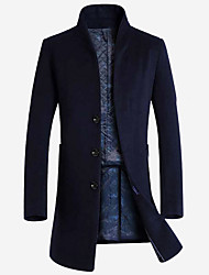 cheap -Men's Solid Colored Basic Fall Trench Coat Long Daily Long Sleeve Wool Coat Tops Black