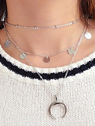 cheap -Women's Layered Necklace Layered double horn Unique Design Fashion Chrome Silver 34.5 cm Necklace Jewelry 1pc For Daily Date