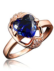 cheap -Women's Ring Engagement Ring Cubic Zirconia 1pc Red Blue Transparent 18K Gold Plated Imitation Diamond Stylish Luxury Romantic Party Engagement Jewelry Classic Heart Heart Lovely