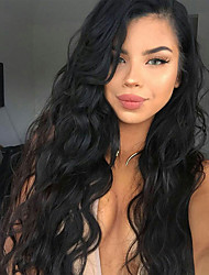 cheap -Human Hair Lace Wig Curly Middle Part Lace Front Wig Ombre Medium Length Natural Black #1B Brown Dark Wine Dark Brown#2 Synthetic Hair 20 inch Women's Adorable New Arrival Hot Sale Ombre Laflare