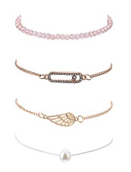 cheap -4pcs Women's Bead Bracelet Vintage Bracelet Earrings / Bracelet Layered Wings Unique Design Vintage Casual / Sporty Fashion Cute Imitation Pearl Bracelet Jewelry Gold For Daily School Street Going