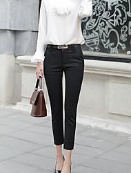 cheap -Women's Basic Suits Pants - Solid Colored High Waist Cotton White Black Navy Blue L XL XXL