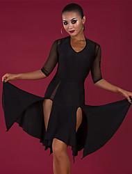 cheap -Latin Dance Dresses Women's Performance Spandex Ruching / Split Half Sleeve Dress