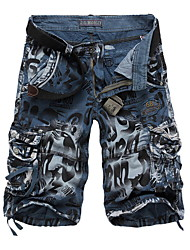 cheap -Men's Basic Military Daily Shorts Pants Camo / Camouflage Knee Length Blue Yellow Wine