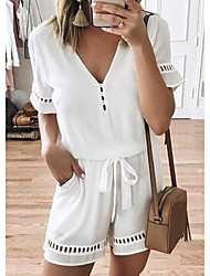 cheap -Women's Causal / Holiday / Beach Beach Style / Street chic V Neck Black Wine White Romper Onesie, Solid Colored Chiffon S M L Spring Summer