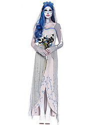 cheap -Zombie Bride Dress Cosplay Costume Adults' Women's Dresses Halloween Halloween Carnival Masquerade Festival / Holiday Polyster Gray Carnival Costumes Solid Colored