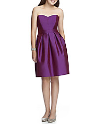 cheap -A-Line Bandeau Knee Length Satin Junior Bridesmaid Dress with Ruching