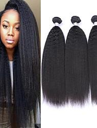 cheap -6 Bundles Brazilian Hair kinky Straight Remy Human Hair Natural Color Hair Weaves / Hair Bulk Bundle Hair One Pack Solution 8-28inch Natural Color Human Hair Weaves Waterfall Cute Fashionable Design