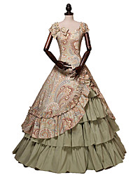 cheap -Princess Rococo Victorian 18th Century Dress Party Costume Costume Women's Cotton Costume Brown Vintage Cosplay Masquerade Party & Evening Short Sleeve Floor Length Long Length Plus Size