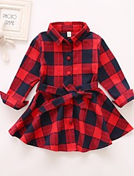 cheap -Kids Girls' Basic Color Block Lace up Long Sleeve Above Knee Dress Red / Cotton