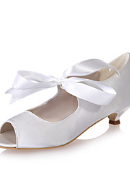 cheap -Women's Wedding Shoes Kitten Heel Peep Toe Ribbon Tie Satin Sweet Spring & Summer White / Red / Champagne / Party & Evening
