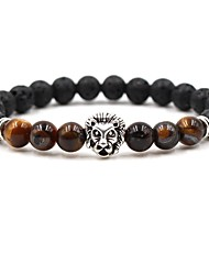 cheap -Men's Women's Coffee Brown Red Natural Stone Bead Bracelet Beaded Cathedral Animal Hip-Hop Stone Bracelet Jewelry White / Yellow / Red For Wedding Ceremony