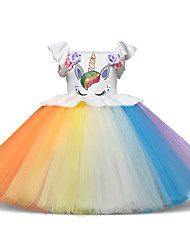 cheap -Princess Midi Party / Birthday / Pageant Flower Girl Dresses - Tulle Sleeveless Jewel Neck with Petal / Ruffles / Pattern / Print