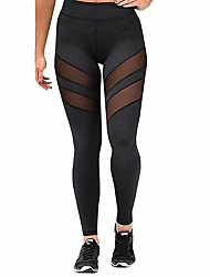 cheap -Women's High Rise Patchwork Yoga Pants Fashion Mesh Running Fitness Tights Activewear Tummy Control Stretchy Slim