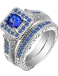 cheap -Men's Women's Ring Rings Set 2pcs Blue Alloy Gift Daily Jewelry Pave Cool