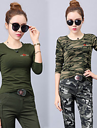 cheap -Women's Camo Hiking Tee shirt 3/4-Length Sleeve Outdoor Lightweight Breathable Quick Dry Wear Resistance Tee / T-shirt Top Autumn / Fall Winter Cotton Crew Neck Army Green Camouflage Camping / Hiking