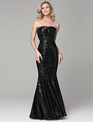 cheap -Mermaid / Trumpet Sparkle & Shine Formal Evening Dress Sweetheart Neckline Sleeveless Floor Length Sequined with Pleats 2021
