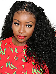 cheap -Remy Human Hair Unprocessed Human Hair 13x6 Closure Deep Part Lace Front Lace Front Wig Asymmetrical Deep Parting Side Part style Brazilian Hair Curly Deep Curly Natural Wig 150% 250% Density with