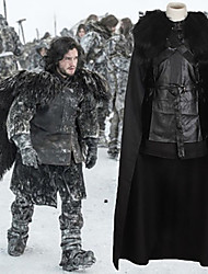 cheap -Game of Thrones Jon Snow Cloak Costume Men's Movie Cosplay Black Top Skirt Cloak Halloween Carnival PU Leather Polyster
