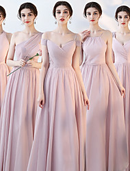 cheap -A-Line Off Shoulder Floor Length Chiffon Bridesmaid Dress with Ruching