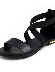 cheap -Women's PU(Polyurethane) Summer Minimalism Sandals Flat Heel Open Toe Black