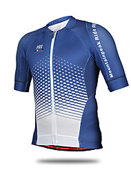 cheap -Mountainpeak Men's Short Sleeve Cycling Jersey Sky Blue+White Plaid / Checkered Plus Size Bike Jersey Top Mountain Bike MTB Road Bike Cycling Breathable Quick Dry Sports Polyester Clothing Apparel