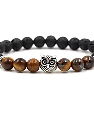 cheap -Men's Women's Coffee Brown Red Natural Stone Bead Bracelet Beads Cathedral Animal Chakra Cheap Hip-Hop Boho equilibrio Stone Bracelet Jewelry Coffee / Brown / Red For Wedding Ceremony