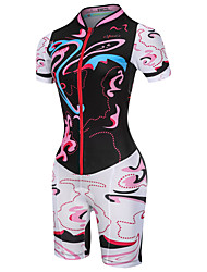 cheap -Malciklo Women's Short Sleeve Triathlon Tri Suit Black Pink Floral Botanical Bike Breathable Quick Dry Moisture Wicking Reflective Strips Sports Floral Botanical Mountain Bike MTB Road Bike Cycling