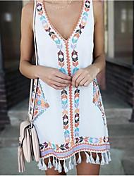 cheap -Women's A-Line Dress Short Mini Dress - Sleeveless Tassel Fringe Spring & Summer V Neck Boho Beach vacation dresses Slim 2020 White Yellow Royal Blue S M L XL XXL 3XL 4XL 5XL