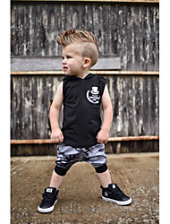 cheap -Baby Boys' Casual / Basic Print Print Sleeveless Regular Cotton Clothing Set Black / Toddler