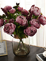 cheap -Artificial Flowers 1 Branch Classic Vintage European Peonies Tabletop Flower