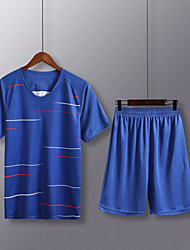 cheap -Men's Soccer Soccer Jersey and Shorts Clothing Suit Breathable Sweat-wicking Team Sports Active Training Football Stripes Polyester Adults Deep Blue