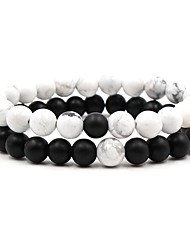 cheap -Men's Women's Black White Natural Stone Bead Bracelet Beaded Cathedral Ball Chakra Hip-Hop equilibrio Stone Bracelet Jewelry Black / White For Wedding Ceremony