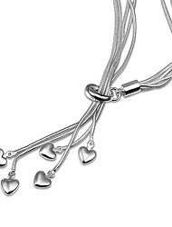 cheap -Women's Pendant Necklace Chain Necklace Necklace Classic Heart Simple Unique Design Romantic Sweet Silver Plated Silver 46 cm Necklace Jewelry 1pc For Gift Daily Evening Party Date Work
