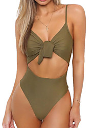 cheap -Women's Sporty Basic Army Green Red Khaki Halter Thong Cheeky Tankini Swimwear Swimsuit - Solid Colored Backless Lace up S M L Army Green