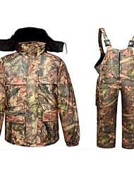 cheap -Men's Hunting Jacket with Pants Outdoor Fleece Lining Warm Anti-Wear Thick Winter Camo Clothing Suit 100% Polyester Cotton Hunting Fishing Camping / Hiking / Caving Camouflage