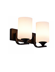 cheap -Modern 2-Light White Bedroom Night Light Wall Lamp Black Metal Wall Sconce Plug in Double Lights Corridor Livingroom Wall Light Fixture