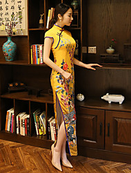 cheap -Adults' Women's Designed in China Chinese Style Wasp-Waisted Chinese Style Cheongsam Qipao For Performance Bridal Shower Spinning Cotton Long Length Cheongsam