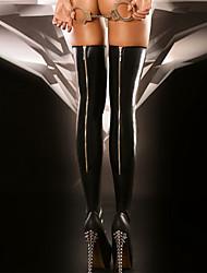 Недорогие -Жен. Тонкая ткань Супер секси Чулки - Однотонный 30D Черный Один размер