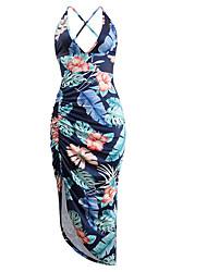 cheap -Women's Elegant Sheath Dress - Floral Backless Blue Red L XL XXL
